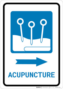 Acupuncture Right Arrow with Icon Portrait - Wall Sign