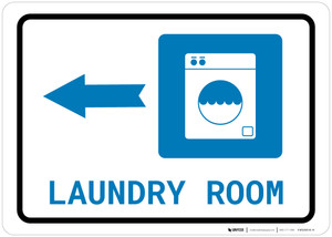 Laundry Room Left Arrow with Icon Landscape - Wall Sign