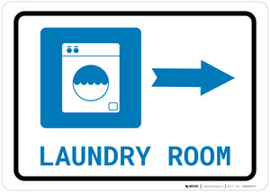 Laundry Room Right Arrow with Icon Landscape - Wall Sign