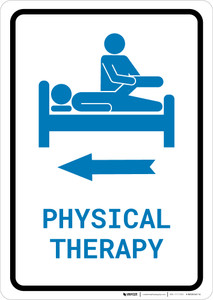 Physical Therapy Left Arrow with Icon Portrait v2 - Wall Sign
