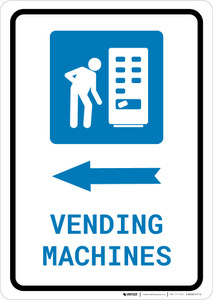 Vending Machines Left Arrow with Icon Portrait v2 - Wall Sign