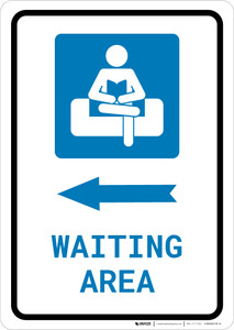 Waiting Area Left Arrow with Icon Portrait v2 - Wall Sign
