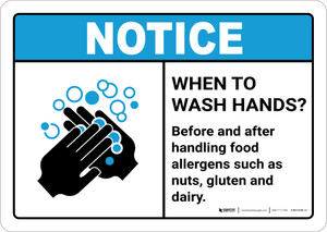 Notice: Wash Hands Before Handling Food Allergens ANSI Landscape - Wall Sign