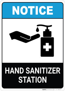 Notice: Hand Sanitizer Station ANSI Portrait - Wall Sign