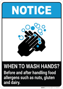 Notice: Wash Hands Before Handling Food Allergens ANSI Portrait - Wall Sign