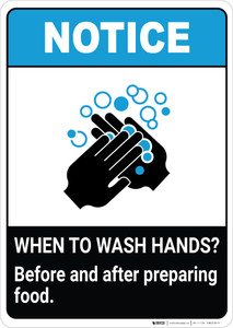 Notice: Wash Hands Before Preparing Food ANSI Portrait - Wall Sign