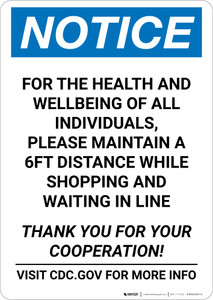 Notice: For Health and Wellbeing Maintain 6FT Distance ANSI Portrait  - Wall Sign