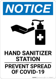 Notice: Hand Sanitizer Station COVID-19 ANSI Portrait - Wall Sign