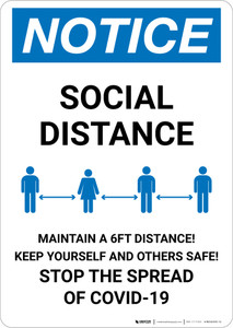 Notice: Stay 6FT Apart Stop the Spread ANSI Portrait - Wall Sign
