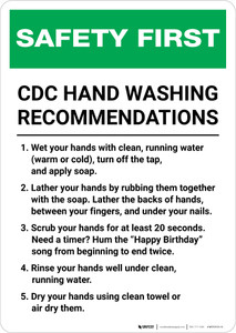 Safety First: CDC Hand Washing Recommendations Portrait  - Wall Sign