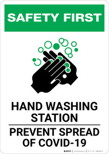 Safety First: Hand Washing Station Prevent COVID-19 Portrait  - Wall Sign