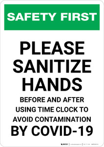Safety First: Sanitize Hands Before & After Using Time Clock COVID-19 Portrait  - Wall Sign