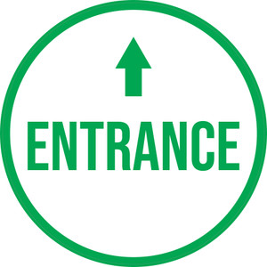 Entrance Ahead with Arrow Circular - Floor Sign