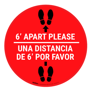 6 Ft Apart Please Una Distancia de 6 ft Por Favor - Floor Sign
