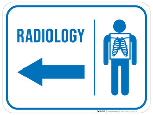 Radiology With Icon Arrow Left Rectangular - Floor Sign