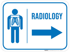 Radiology With Icon Arrow Right Rectangular - Floor Sign