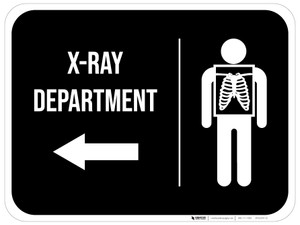 X-Ray Department Arrow Left Rectangular - Floor Sign
