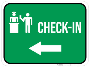 Check-In Left Arrow with Icon Rectangular - Floor Sign