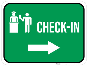 Check-In Right Arrow with Icon Rectangular - Floor Sign