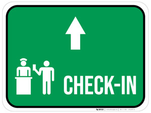 Check-In Straight Ahead Arrow with Icon Rectangular - Floor Sign