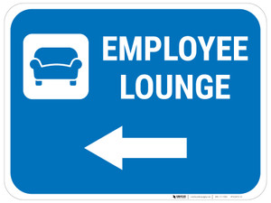 Employee Lounge Left Arrow with Icon Rectangular - Floor Sign