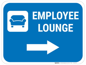 Employee Lounge Right Arrow with Icon Rectangular - Floor Sign