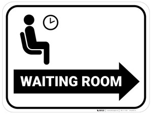 Waiting Room Right Arrow with Icon Rectangular - Floor Sign