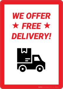 We Offer Free Delivery  - Wall Sign