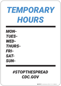 Temporary Hours: Stop The Spread Cdc Gov - Wall Sign