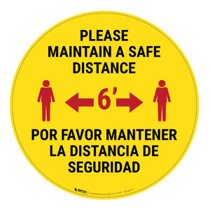 Please Maintain a Safe Distance - Bilingual - Floor Sign