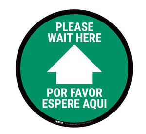 Please Wait here - Green - Bilingual - Floor Sign