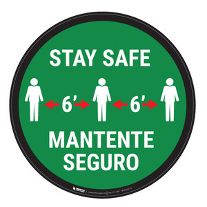 Stay Safe - 6' Bilingual - Floor Sign