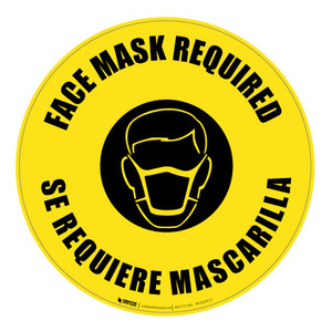 Face Mask Required - Bilingual - Floor Sign