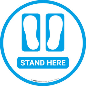 Stand Here with Feet Icon (Blue) - Floor Sign