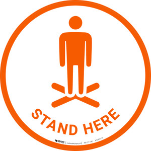 Stand Here with Icon - Floor Sign