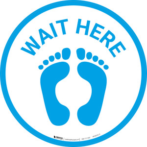 Wait Here with Feet Icon (Blue) - Floor Sign