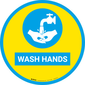 Wash Hands with Icon (Yellow-Blue) - Floor Sign