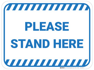 Please Stand Here - Blue - Floor Sign