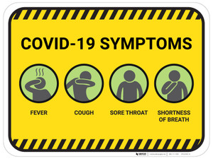 COVID-19 Symptoms with Icons - Floor Sign