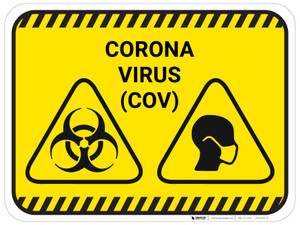 Corona Virus COV with Icons - Yellow - Floor Sign