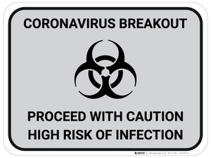 Coronavirus Breakout Proceed With Caution with Biohazard Icon - Gray - Floor Sign