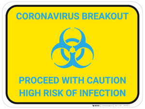 Coronavirus Breakout Proceed With Caution with Biohazard Icon v2 - Floor Sign