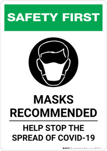 Safety First: Masks Recommended Help Stop the Spread of COVID-19 with Icon Portrait - Wall Sign