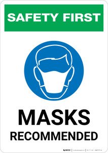 Safety First: Masks Recommended with Icon Portrait - Wall Sign