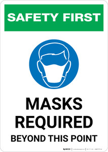 Safety First: Masks Required Beyond This Point with Icon Portrait - Wall Sign