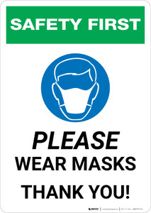 Safety First: Please Wear Masks - Thank You with Icon Portrait - Wall Sign
