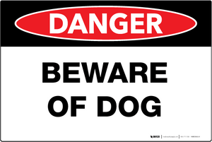 Beware of Dog - Wall Sign