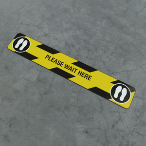Please Wait Here Feet Icon - Social Distancing Strip