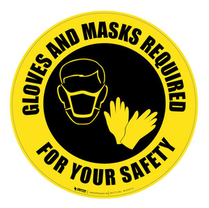 Gloves and Masks Required - Yellow - Floor Sign