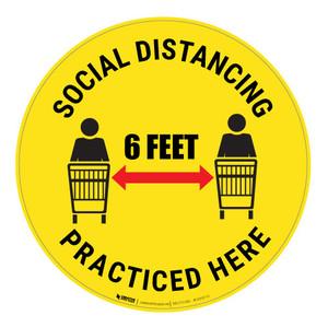 Social Distancing Practised Here - Floor Sign